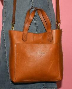 J. Crew MADEWELL Small Brown Leather TRANSPORT CROSSBODY Satchel Tote Purse Bag