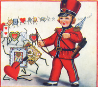 WHITNEY Valentine~DRUM MAJOR CUPID~HUMANIZED TOKENS MARCH Vintage Postcard