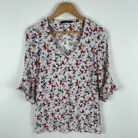 Portmans Womens Top Size 6 White Floral Trumpet 3/4 Sleeve V-Neck