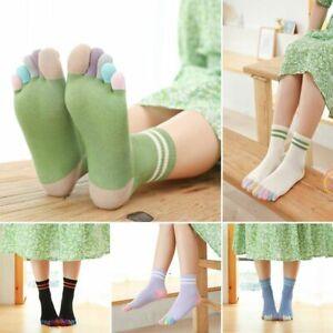 5 Pairs Girls Womens Cotton Toe Socks Five Finger Socks Casual Sports Socks