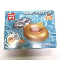 Play Day Swimming Pool Inflatable Cup Drink Holder Float Glitter Diamond Ring