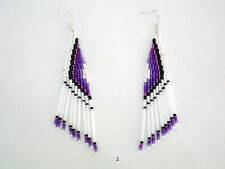 Hand Made White Plum Violet Black Native American Seed Bugle Bead Earrings