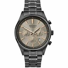 Sekonda Mens Brushed Silver Chronograph Dial Gunmetal Bracelet Watch 1228