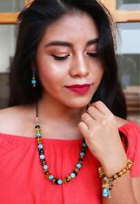 Earring Bracelet Set Bohemian Jewelry Handmade Womens Mexican Amber Necklace