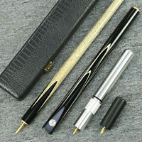 """Grand-Cues"" 58"" 3/4 Jointed Ash Shaft Black Ebony Handmade Snooker Cue Set@YP13"