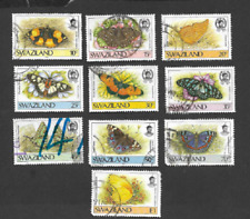 SWAZILAND POSTAGE ISSUE SET OF 10 DEFINITIVE STAMPS 1987 - BUTTERFLIES