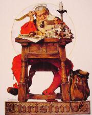 Vintage Norman Rockwell Christmas Santa Painting 8x10 Real Canvas Art Print New