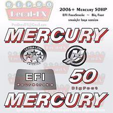 2006+ Mercury 50HP BF Str Decal EFI Four Stroke Big Foot Repro 7 Pc Straight