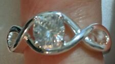 Solitaire Ring Catia Eternity Ring Sz 7 Silver tone Rhinestone NEW FREE SHIPPING