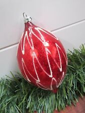 Vintage Mercury Glass Teardrop Mica Squiggle Christmas Ornament West Germany 5""