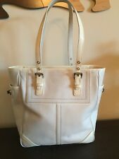 Coach F10412 Hampton Legacy Ivory White Leather Tote Shoulder Purse Bag Tag Char