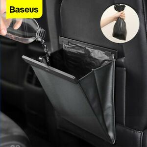Baseus Car Backseat Organizer Storage Bag Magnetic Leather Trash Can Waterproof