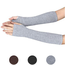 Womens Warmer Mitten Winter Long Knitted Wrist Arm Hand Warmer Fingerless Gloves