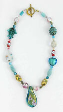 Teal Chunky Beaded Necklace W/ Cloisonné Beads Hearts~Turtles~Gold Tone