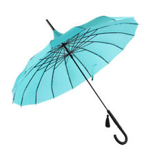 SOAKE Stunning Teal Classic Ribbed Plain Pagoda Style Long Walking Umbrella