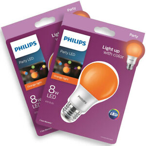 2 PACK Philips 60-Watt Equiv A19 Non-Dimmable Orange LED Colored Light Bulbs