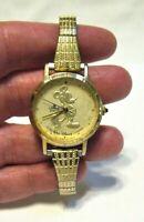 LORUS MICKEY MOUSE WOMENS WRISTWATCH QUARTZ GOLD BAND GOLD FACE