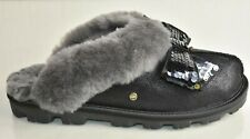 NEW UGG UGGS COQUETTE Sequins Bow Slippers Metallic SHINY BLACK Shoes 8 EUR 39