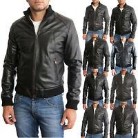 Giacca Giubbotto in di Pelle Uomo Men Leather Jacket Veste Blouson Homme Cuir 3D