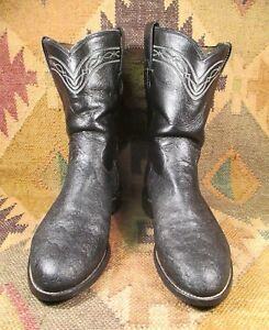 Size 10 D Embroidered Boots Mens Boots FREE SHIPPING Vintage Justin Cowboy Boots Black Boots Stitched Cowboy Boots Western Boots