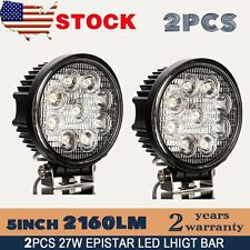 2X 27W 5inch Spot Round LED Work Light Offroad Fog Driving DRL SUV ATV Truck 4WD