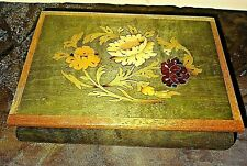 Vtg. Inlaid Lacquered Wood Reuge Jewelry Music Box Italy 'Come Back to Sorrento'