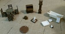 Vintage mixed lot of miniature plastic furniture pieces doll house or crafts
