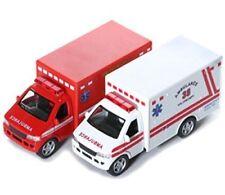 "2 PC Set New 5"" Kinsfun Ambulance Paramedic Rescue Team Truck Diecast Model Toy"