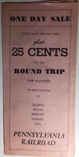 PENNSYLVANIA RAILROAD vintage brochure for One Day 25 Cents Sale from Washington
