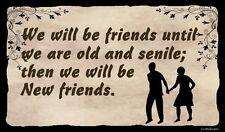 (New Friends)   WALL DECOR, , RUSTIC, PRIMITIVE, HARD WOOD, SIGN, PLAQUE