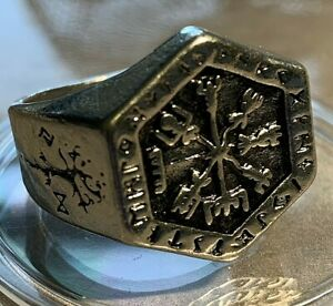 Mens Nordic Viking Compass Vintage Style Titanium Stainless Steel Ring Size 9-13