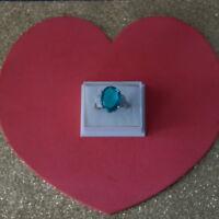 Beautiful Rich Blue Aquamarine & CZ Silver Ring 5.1Gr. Size N  US 6.34 In Box