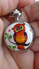 are owl  mini necklace pendant pocket watch vintage style chain