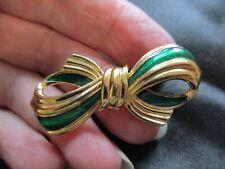 Ribbon Brooch Pin Pretty Gift Idea Vintage Gold Tone Green Enamel Bow