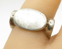 PRM MEXICO 925 Sterling Silver - Vintage Oval Detail Square Band Ring Sz 6 R3403