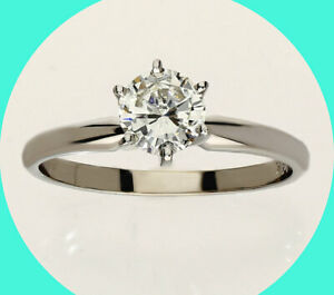 New w/tag .52CT H diamond solitaire engagement ring 14K white gold round brill
