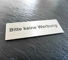 Edelstahl Klingelschild, Briefkastenschild, Bitte keine Werbung,Türschild (ZB22)
