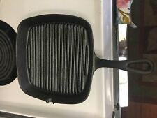 BASIC ESSENTIALS Grill Skillet Pan Square Ribbed Bottom,9.25-inch  Cast-Iron,