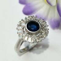 Blue & White Baguette Shape CZ Stone Ring,Solid Sterling Silver 925 Size No 7