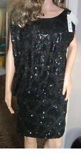 BNWT Ladies SCALA Black Sequin Jewel Backless Mini Ruched Hemline Dress - USA 0