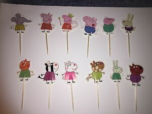 12 x Peppa Pig CUPCAKE TOPPER Party Supplies Lolly Loot Bag
