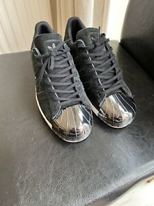 Size 7 adidas Superstar Black Suede With Chrome Shell Toe Rrp 119 Summer Rare