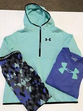 Euc Under Armour 3 Set Sweatshirt Shirt Legging Mint Purple Geometric Sz Yl Yxl