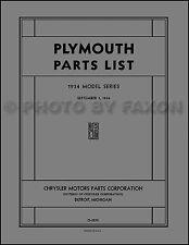 1934 Plymouth Illustrated Parts Book Catalog Manual 34 Master  PE PEX PF PFX PG