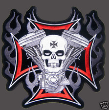 BIKER SKULL CROSS MOTOR PATCH (XXL) 11 INCH PATCH