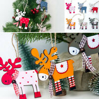 Xmas Tree Pendants Hanging Wooden Elk Christmas Home Party Decorations Gifts SO