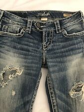 Silver Brand Jeans TUESDAY Low Bootcut Destroyed Ripped Jeans  25 x 33
