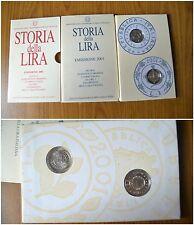 CONFEZIONE 2 MONETE CELEBRATIVE STORIA DELLA LIRA EMISSIONE 2001 1 LIRA ARGENTO