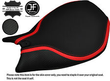 RED STRIPE GRIP CARBON VINYL CUSTOM FITS DUCATI 899 1199 FRONT SEAT COVER