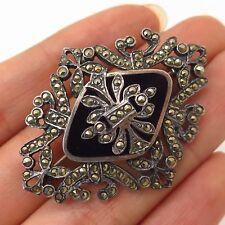 925 Sterling Silver Vintage Real Black Onyx & Marcasite Gemstone Pin Brooch